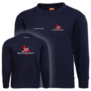 Pullover Kinder | Jugendfeuerwehr JF Flamme mit Ortsname